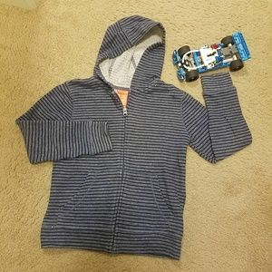 Joe Fresh zip hoodie - blue stripes - medium 7/8